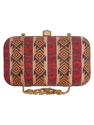 Loom Striped Jacquard Fabric Clutch Multicolour