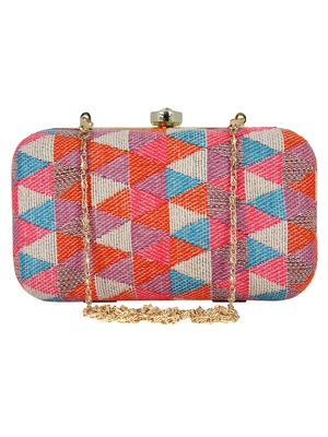 Hyperbole Jacquard Textured Clutch Multicolour