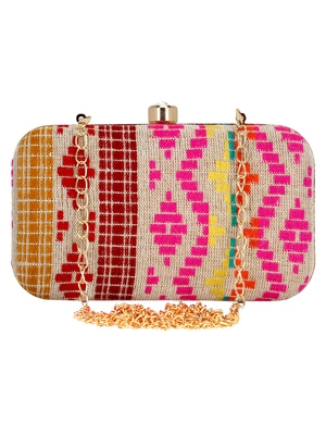 Loom Jacquard Fabric Clutch Beige & Multi