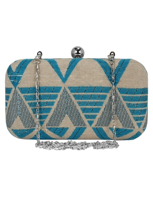 Hyperbole Fabric jacquard Textured Clutch Beige & Blue