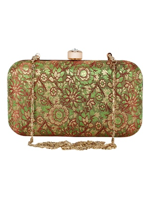 Tulle Raw Silk Fabric Printed Clutch Green & Gold