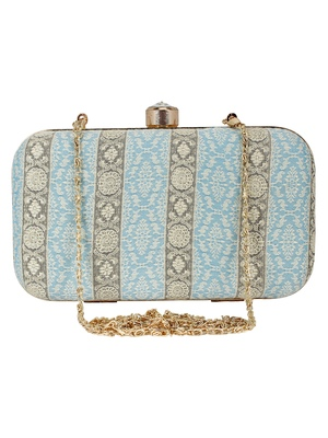 Tulle Raw Silk Fabric Printed Clutch Blue & Gold