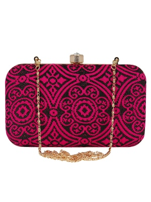 Loom Cotton Fabric Printed Clutch Black & Pink