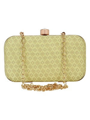 Tulle Raw Silk Fabric Printed Clutch Lemon