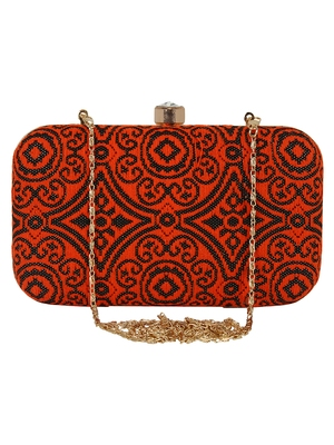 Loom Cotton Fabric Printed Clutch Black & Orange
