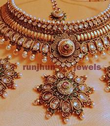 Buy wedding spl broad pearl and stone necklace set Necklace online