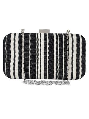 Loom Cotton Jacquard Stripes Clutch Black & Beige