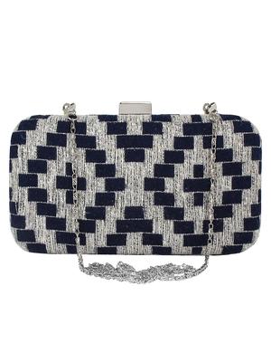 Hyperbole Cotton Fabric Textured Clutch Navy Blue & Silver