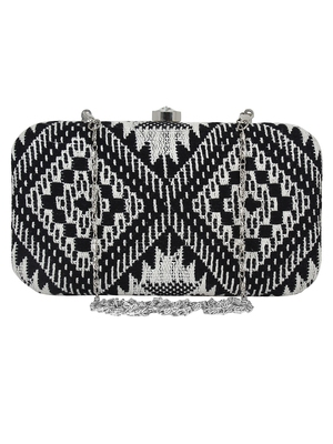 Hyperbole Cotton Textured Clutch Black & White