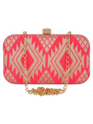 Hyperbole Cotton Textured Embroidery Clutch Beige & Neon Pink