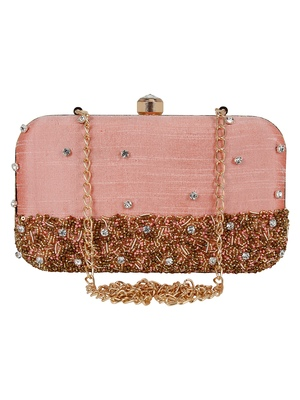 Adorn Faux Silk Embellished Peach Gold