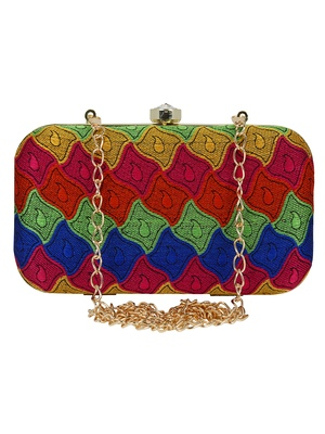 Loom Cotton Textured Clutch Multicolour