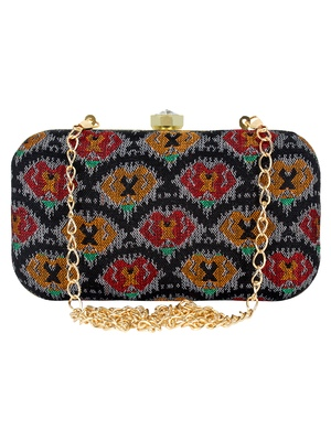 Loom Cotton Textured Clutch Black & multicolour