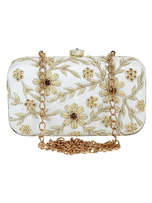 Adorn Cotton Embellished Clutch Beige & Gold