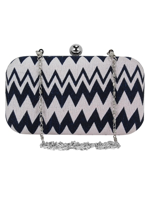 Loom Cotton Jacquard Clutch Navy Blue & White