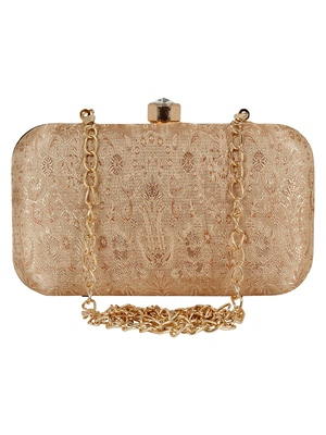 Tulle Faux Silk Fabric  printed Clutch Gold