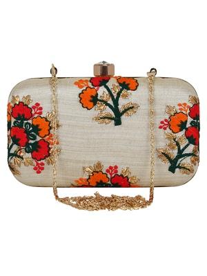 Ethnique Faux Silk Embroidered Clutch Beige