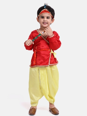 Red Dhoti Kurta Krishna Kanhaiya Suit With Mukut And Bansuri