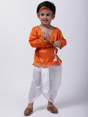 Orange Dhoti Kurta Krishna Kanhaiya Suit With Mukut And Bansuri