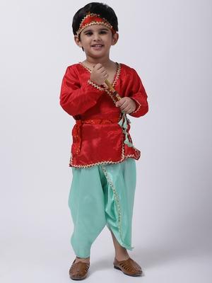 Red Dhoti Kurta Krishna Kanhaiya Suit With Mukut And Bansuri