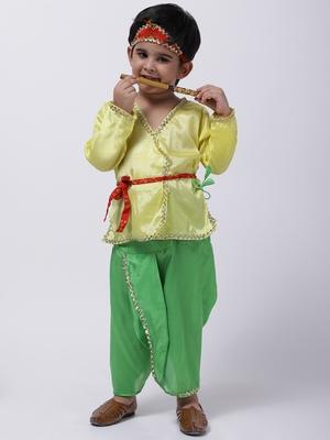 Yellow Dhoti Kurta Krishna Kanhaiya Suit With Mukut And Bansuri