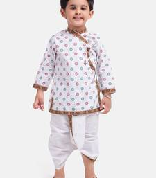White Cotton Dhoti Kurta Krishna Kanhaiya Suit Dress For Baby Boy