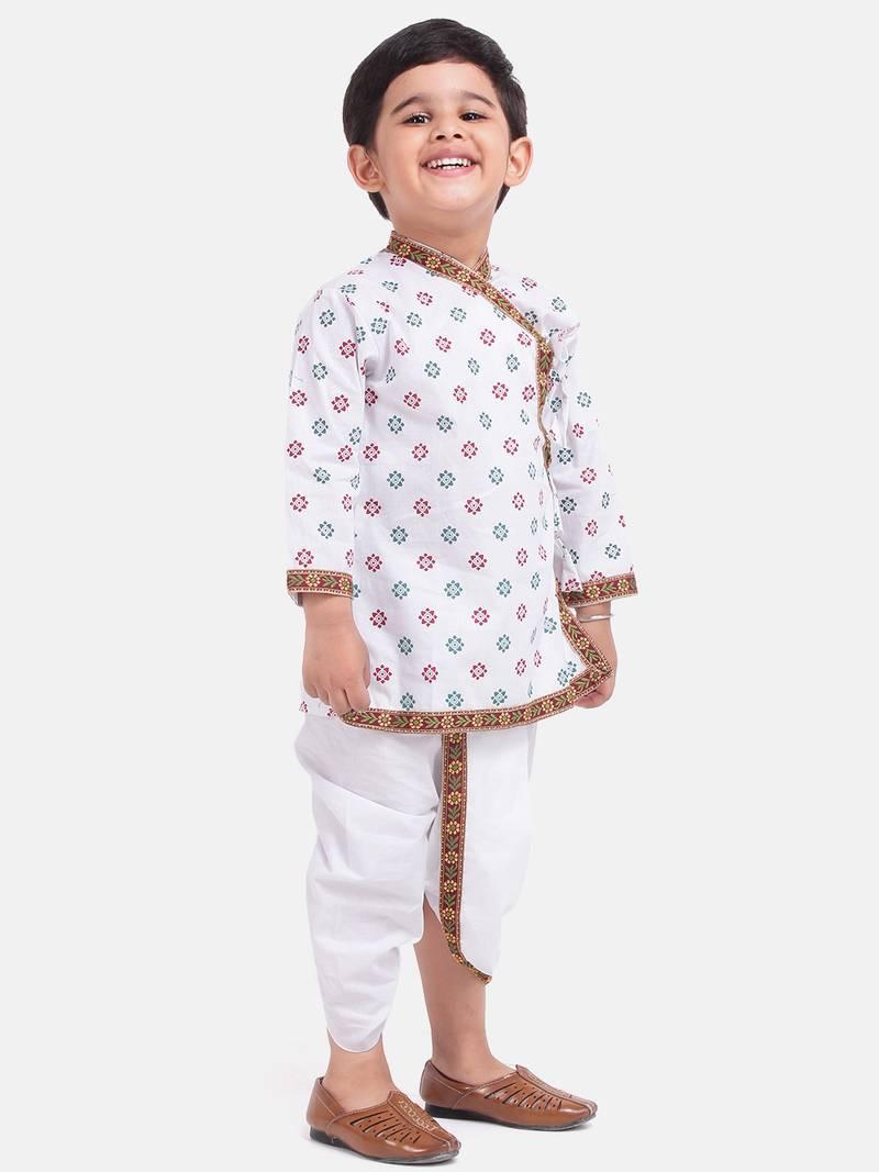 White Cotton Dhoti Kurta Krishna Kanhaiya Suit Dress For ...