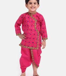 Pink Cotton Dhoti Kurta Krishna Kanhaiya Suit Dress For Baby Boy