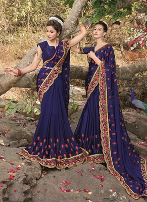 dark blue embroidered satin saree with blouse