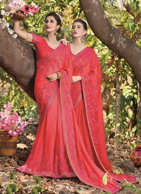 scarlet red embroidered satin saree with blouse