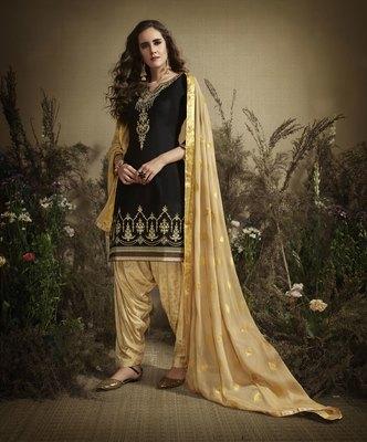Black embroidered cotton silk salwar