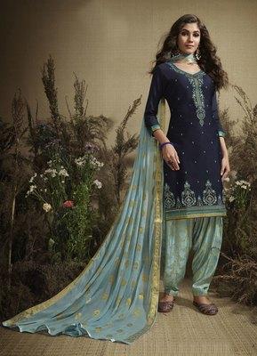 Navy-blue embroidered cotton silk salwar