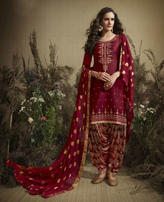 Maroon embroidered cotton silk salwar