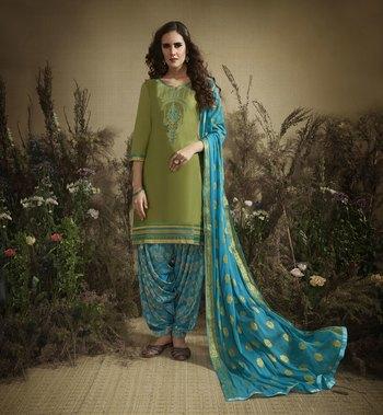 Green embroidered cotton silk salwar
