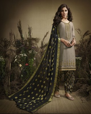 Cream Embroidered Cotton Silk Salwar