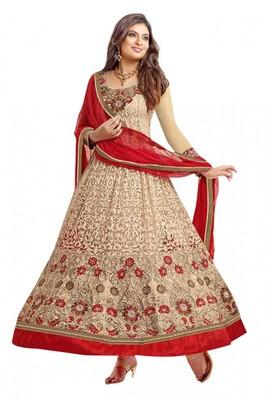 Cream Colored Brasso Net Embroidered Designer Anarkali Suit