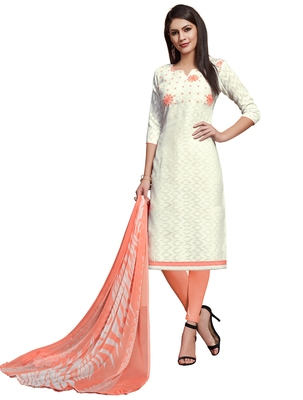 White embroidered cotton unstitched salwar with dupatta