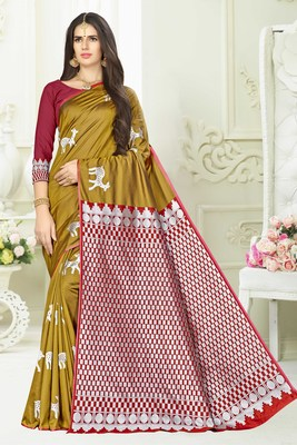 Mustard woven banarasi saree with blouse