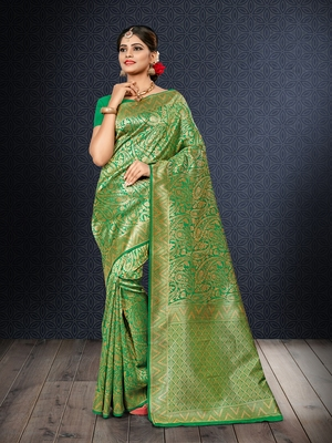 Light parrot green woven banarasi saree with blouse