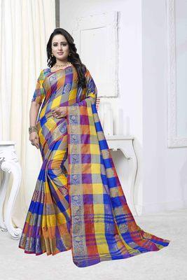 Multicolor woven banarasi saree with blouse
