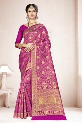 Wine woven banarasi saree with blouse