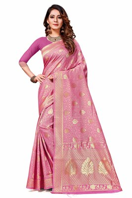 Light pink woven banarasi saree with blouse