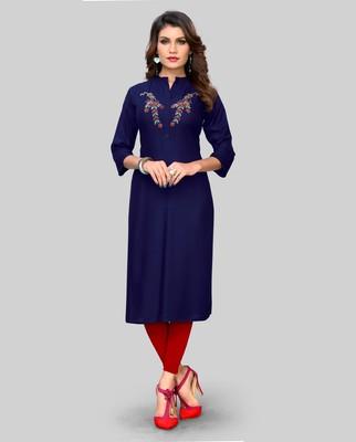 Blue plain rayon ethnic-kurtis