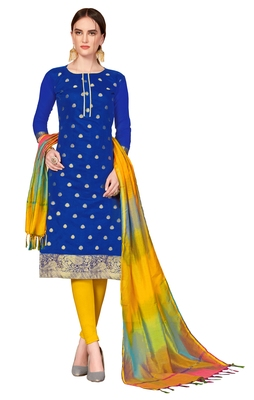 Blue woven banarasi unstitched salwar with dupatta salwar