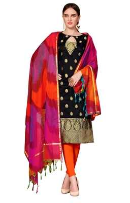 Black woven banarasi unstitched salwar with dupatta salwar