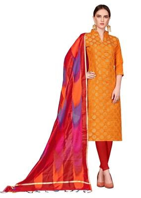 Orange woven banarasi unstitched salwar with dupatta salwar