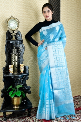 SKY BLUE BLENDED TISSUE SAREE WITH SILVER THREAD WORK