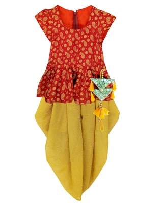 RED Girls's indowestern dhOTI suit,indo western dress,Peplum top dhoti