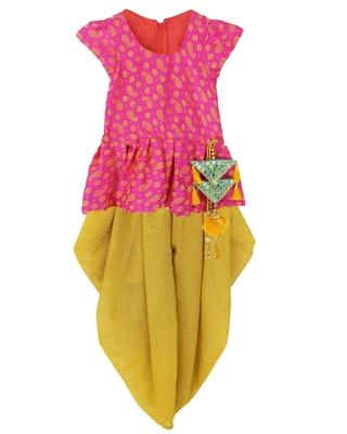 Rani Girls's indowestern dhOTI suit,indo western dress,Peplum top dhoti