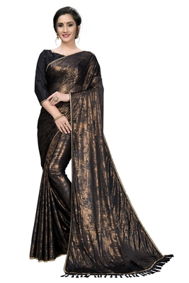 Black plain silk blend saree with blouse